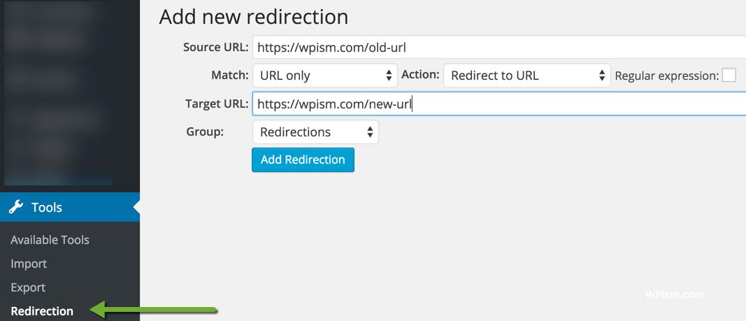 Add New Redirection WordPress Plugin