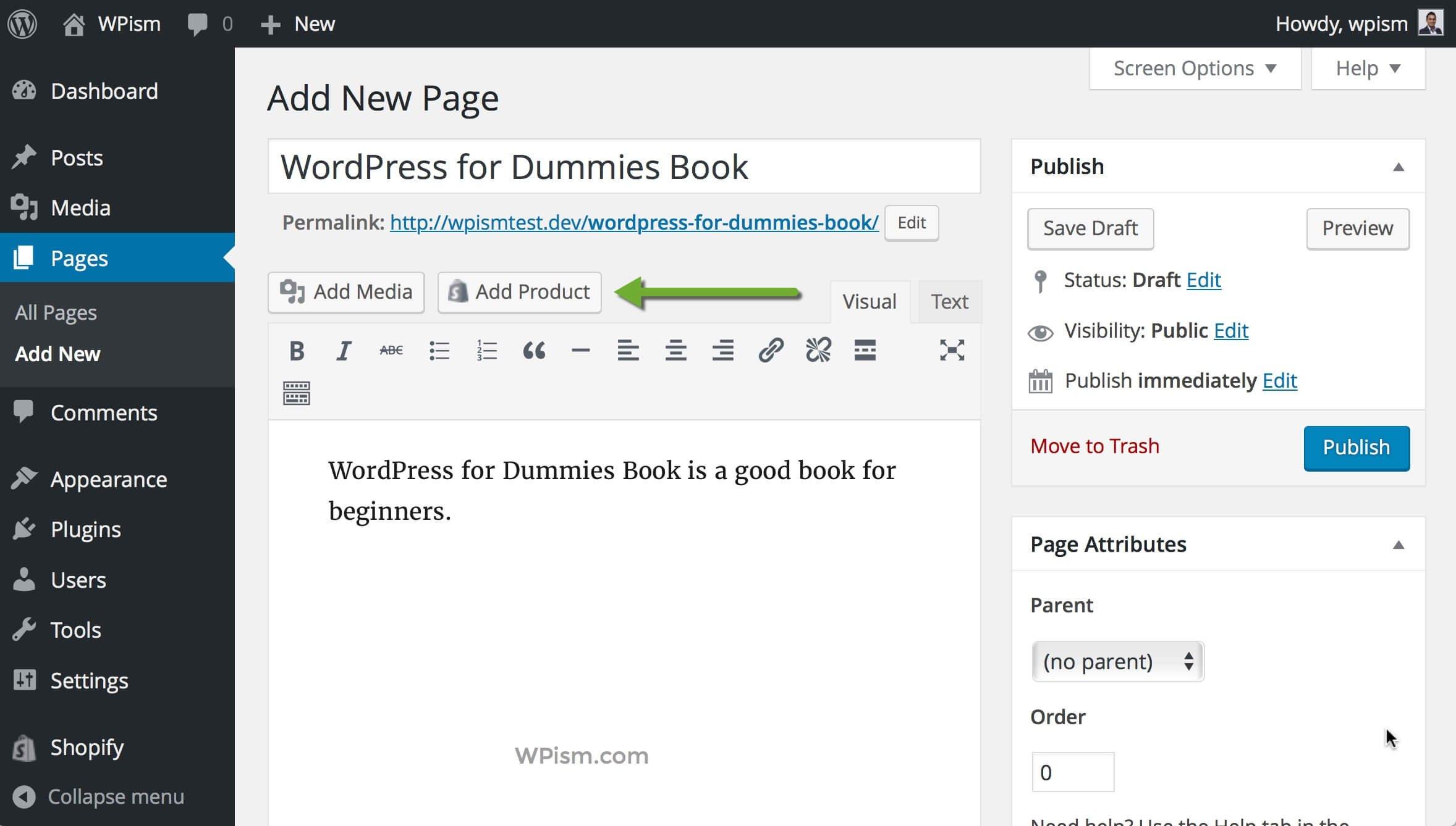 Add Product Shopify Button WordPress Editor