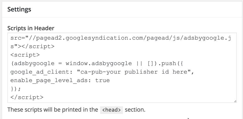 Adsense Ad Scripts in Header
