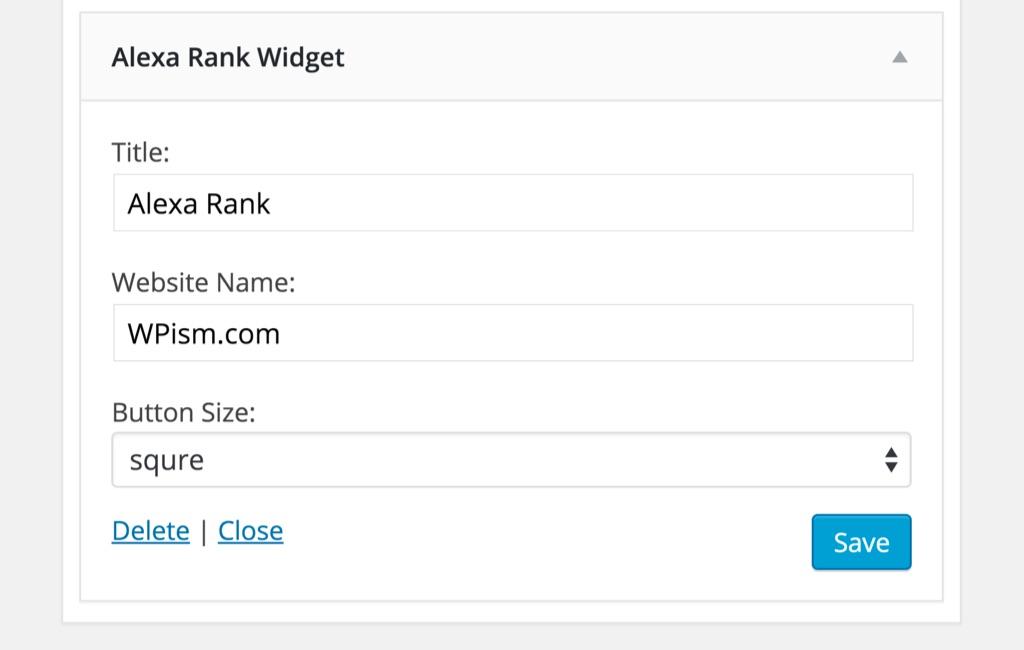 Alexa Rank Widget WordPress Plugin Settings