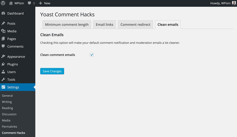 Clean Emails Yoast Comment Hacks Plugin