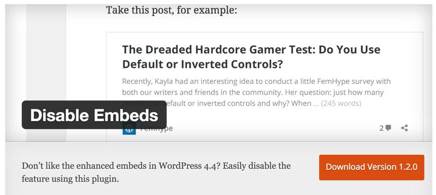Disable WordPress Embeds plugin