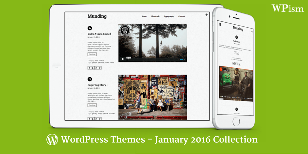 Free WordPress Themes January 2016 Collection