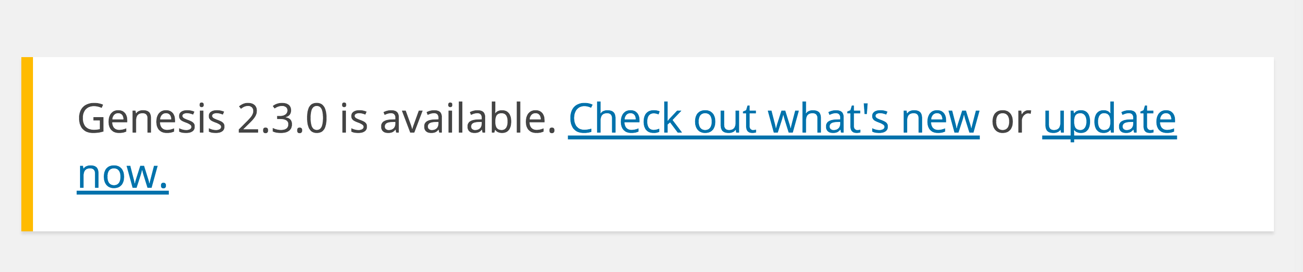 Genesis 2.3 Update Notification WordPress