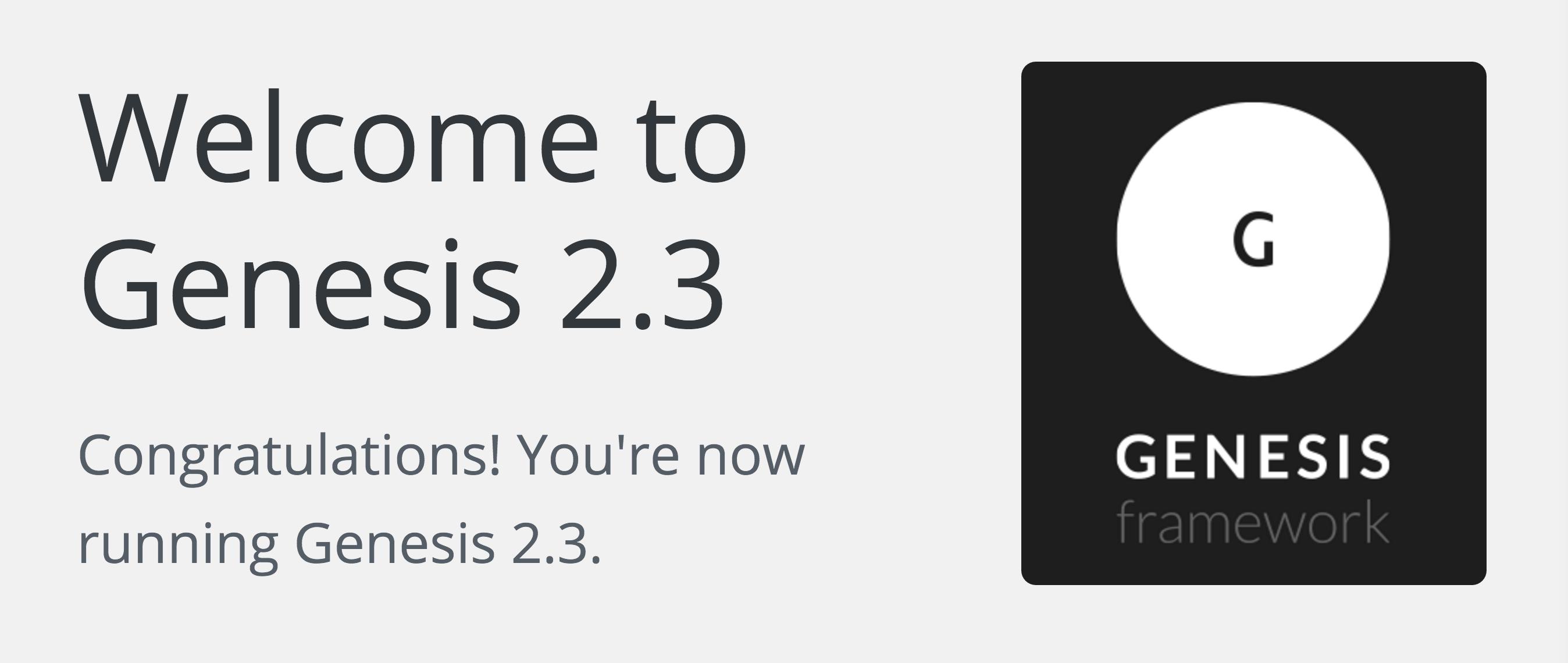 Genesis Framework 2.3 Update WordPress