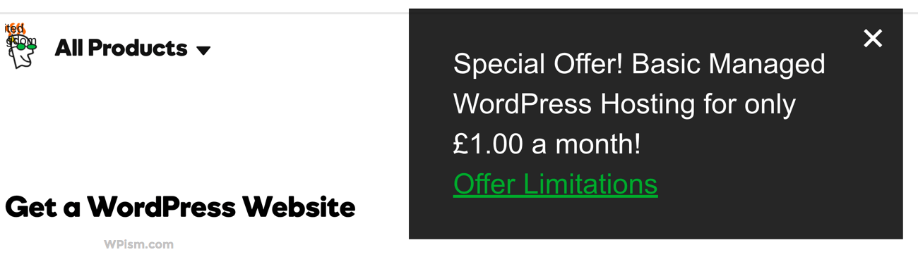 GoDaddy Managed WordPress Hosting Offer Coupon popup