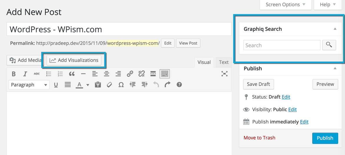 Graphiq Data Visual Tool Buttons WordPress