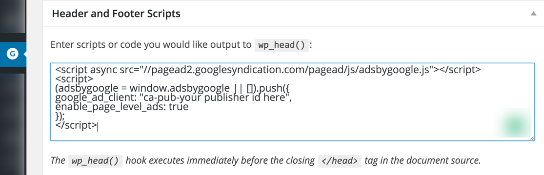 Header Script Google Adsense Genesis