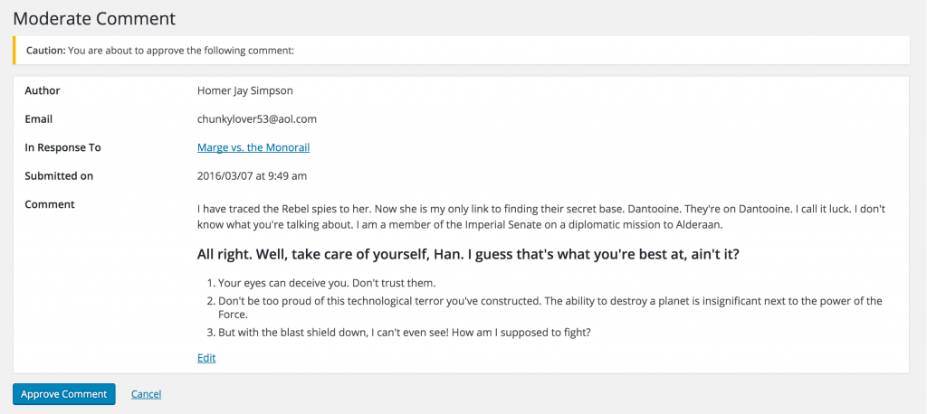 Moderate Comment Screen in WordPress 4.5