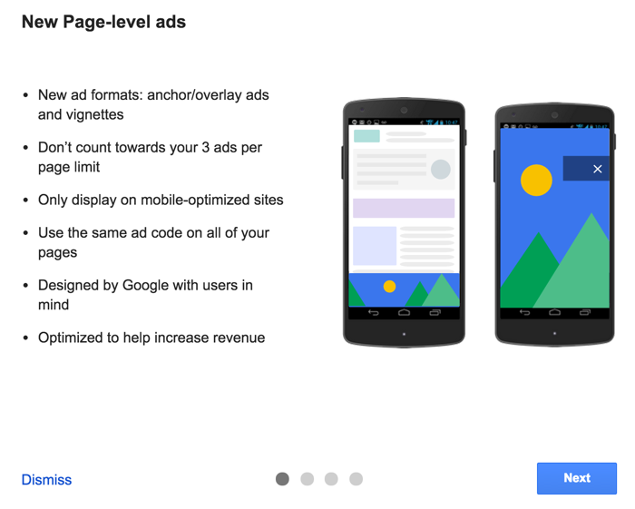 New Page-Level Ads from Google Adsense