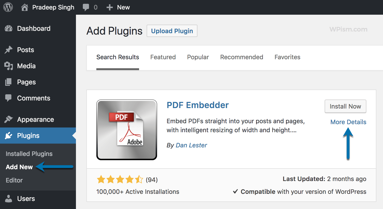 PDF Embedder plugin Install and Activate