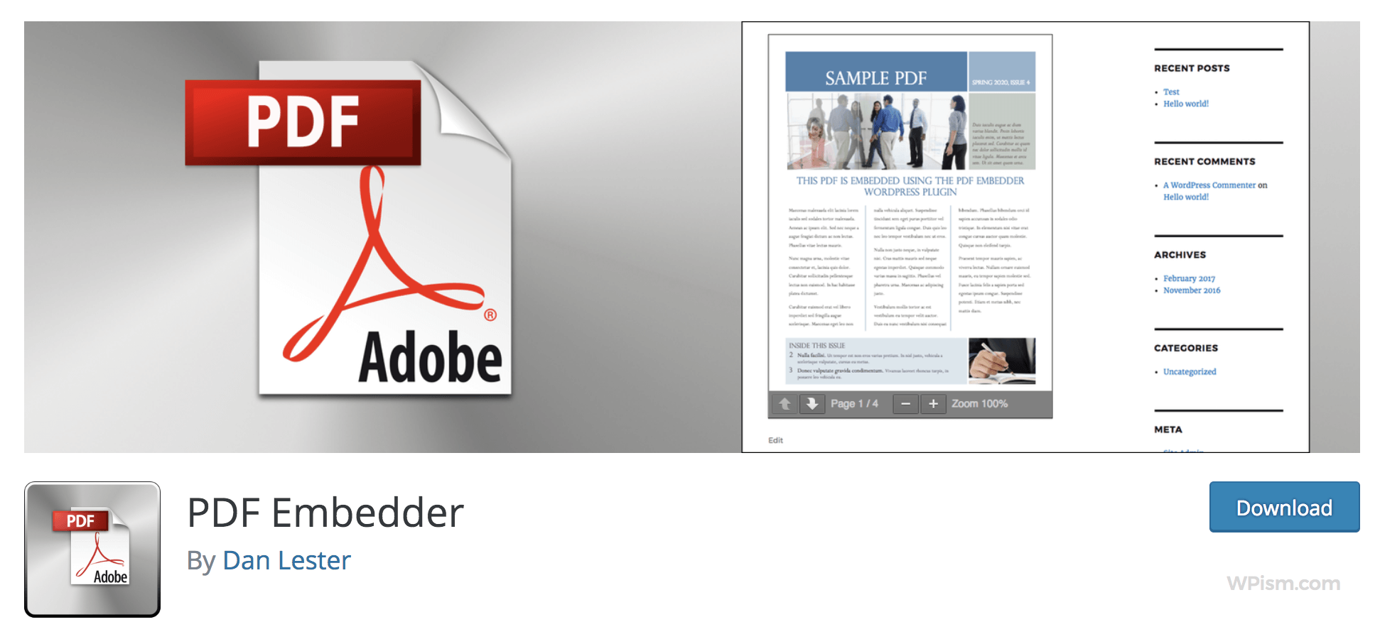 PDF Embedder plugin WordPress repository