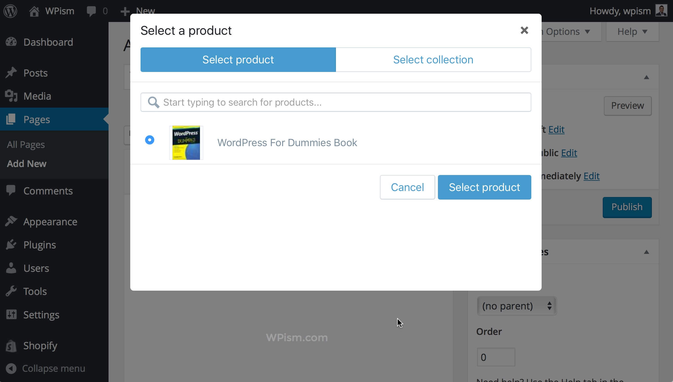 Select Products Collection Shopify WordPress Editor