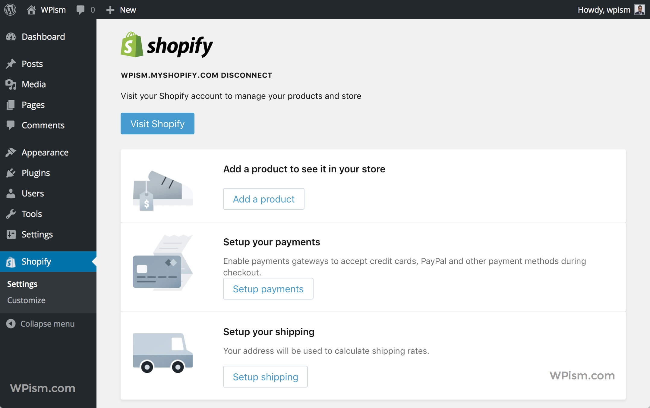 Shopify Store Main Settings