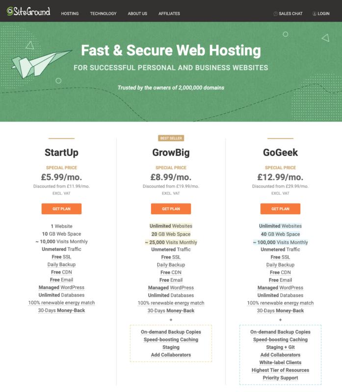 SiteGround hosting deals sign up plans