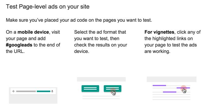 Test Page level ads Google AdSense