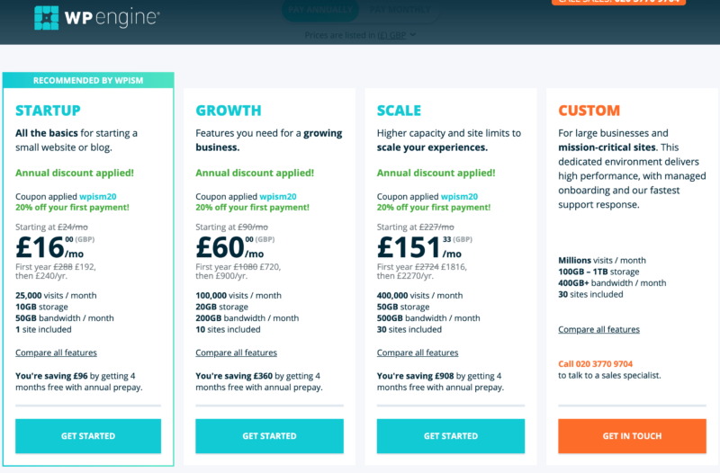 WP Engine Coupon Code applied discount pricing