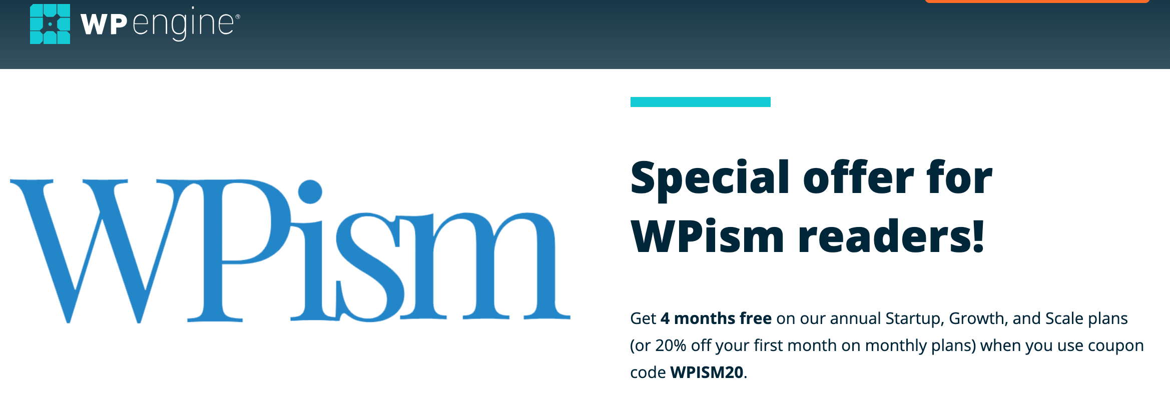 WP Engine Coupon Special Offer wpism20 discount code