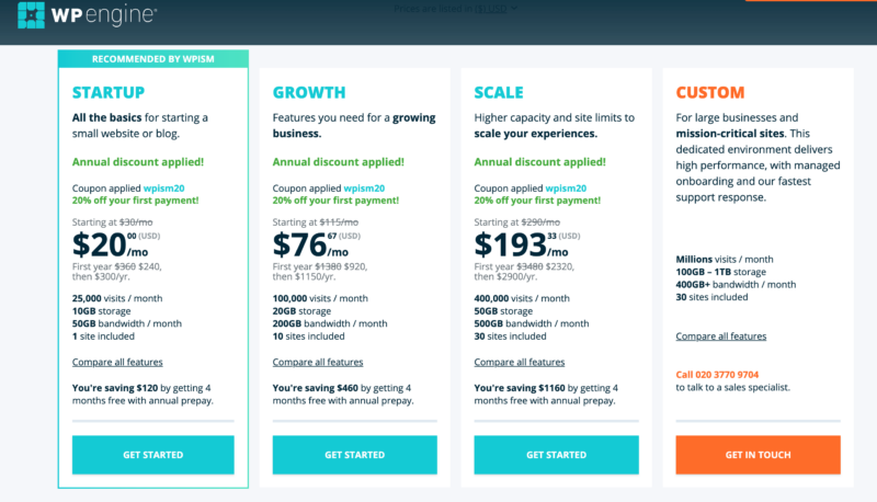 WP Engine Coupon discounted Pricing plans