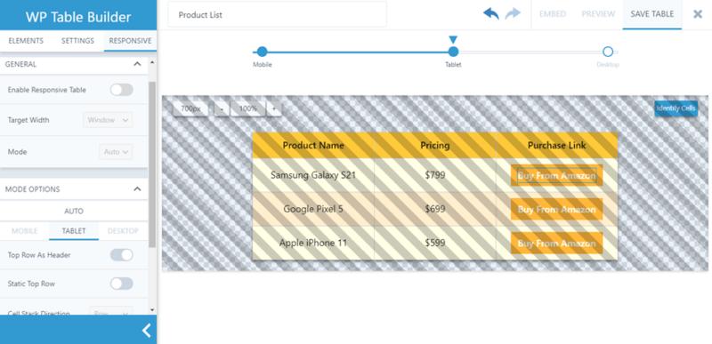 WP Table Builder - Responsive Settings Pro