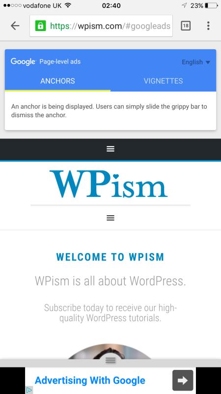 WPism Anchor ad Page-level Ads Google Adsense