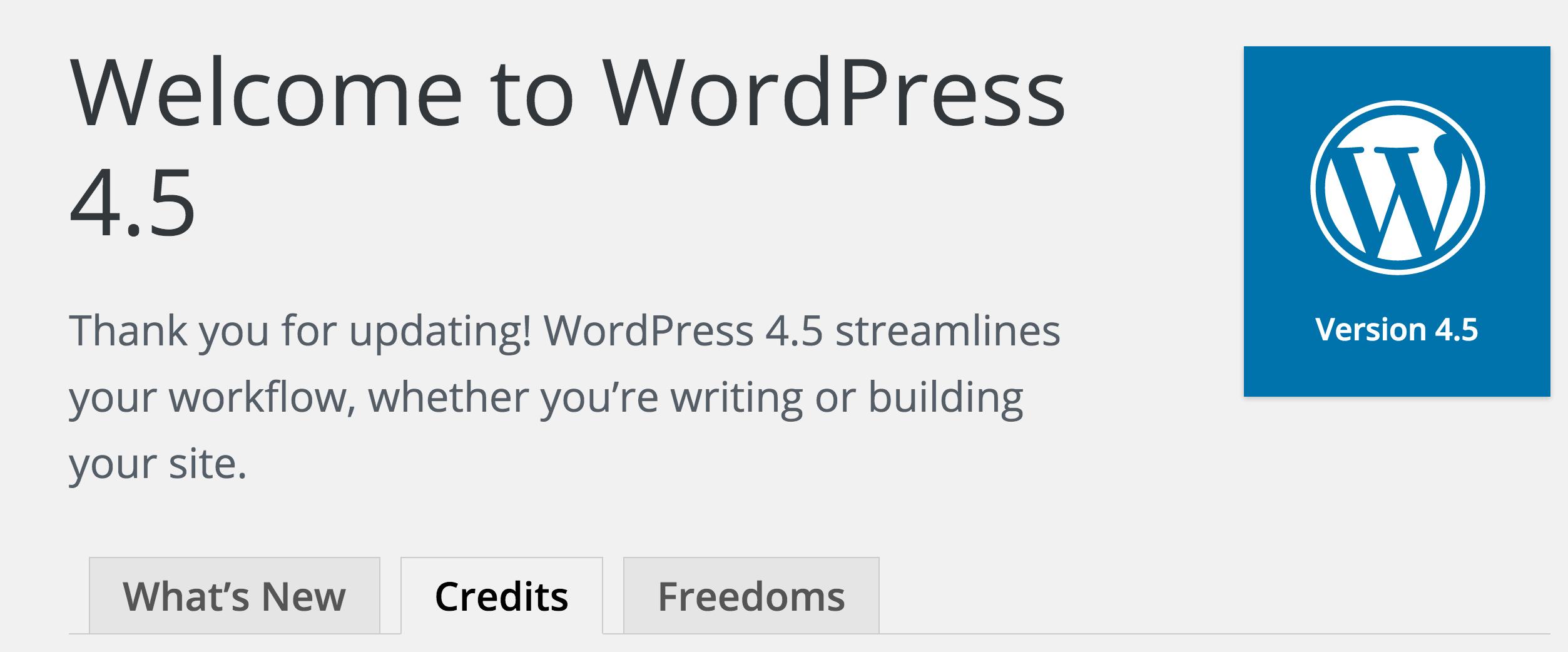 Welcome Screen WordPress 4.5
