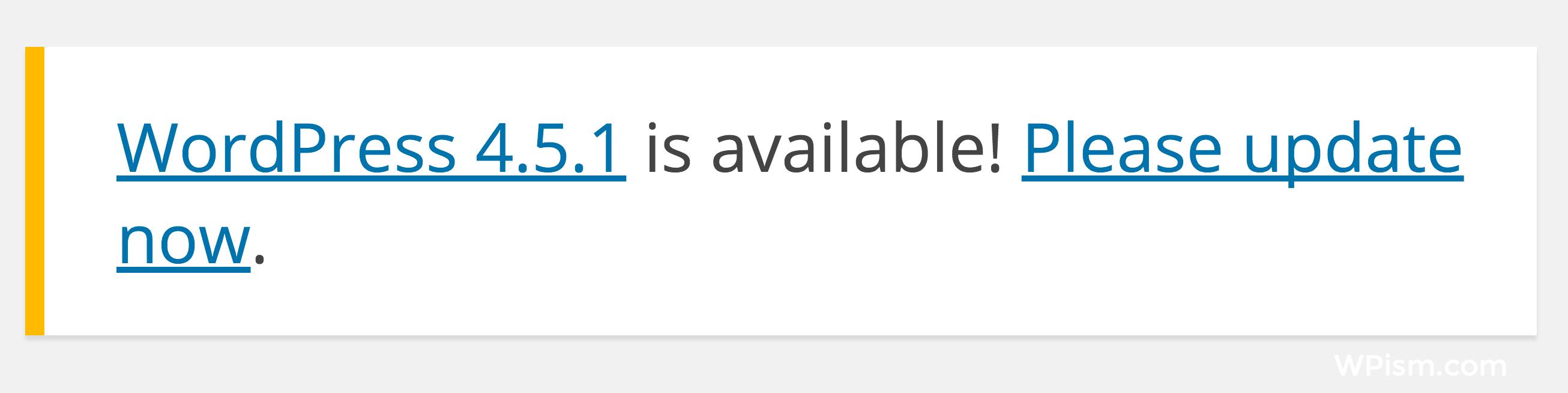 WordPress 4.5.1 Update Notification