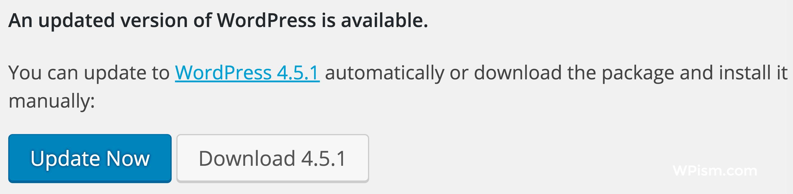 WordPress 4.5.1 Update Now Dashboard