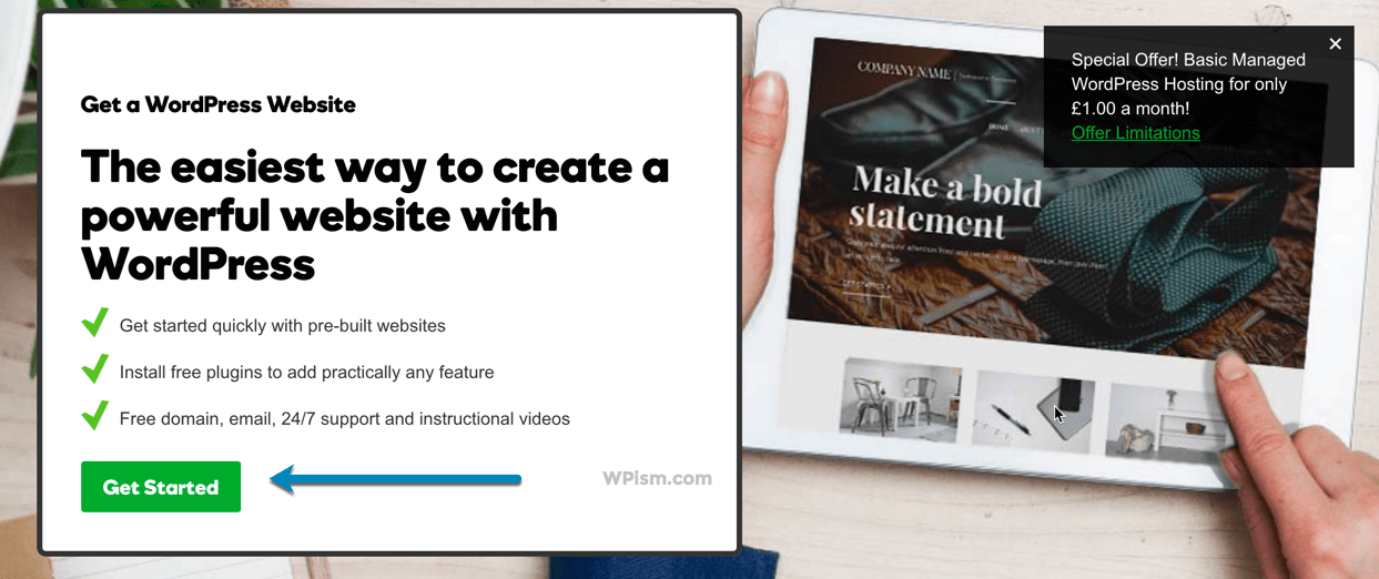 WordPress GoDaddy Get Started Page Coupon Offer