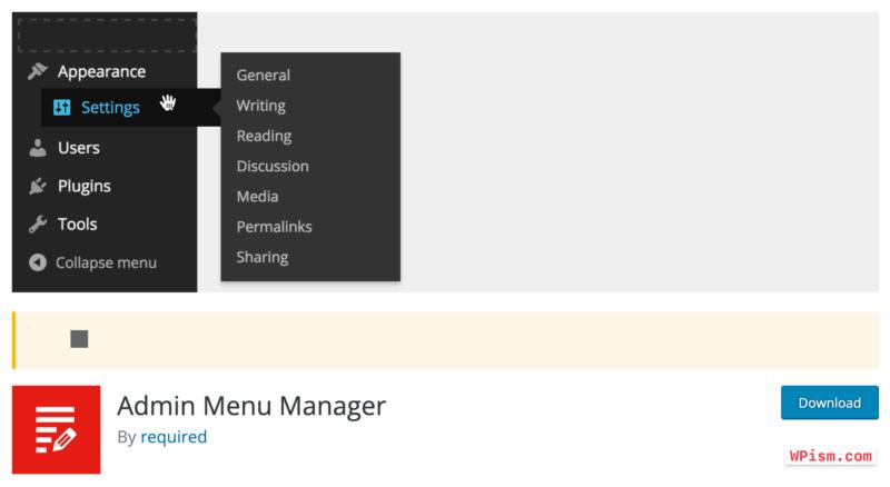 WordPress Menu Manager Plugin required