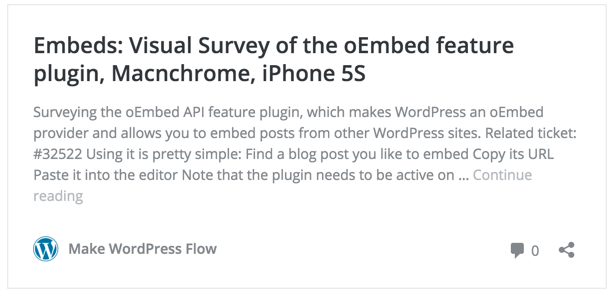 WordPress embeds Preview